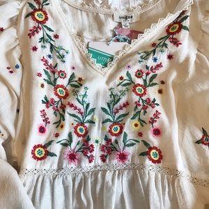 Embroidered cream dress